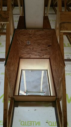 Attic access for a high-performance home. Stack Effect, Roof Hatch, Blown In Insulation, Hatch Cover, Gable Vents, Carpentry Skills, Small Bench, Attic Ladder