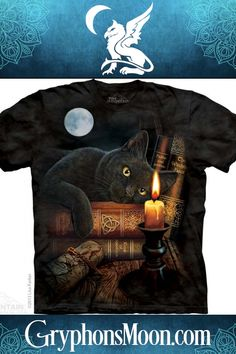 The Witching Hour T-Shirt - Sigh. That feeling when you don't really want to go to the party, but there's no graceful way to get out of it. The one where you're going to have to smile and talk to people instead of curling up with a cat and a good book. You know that feeling, right? Well, if you can't escape an evening of socializing, at least you can find others with similar mindsets when they see you wearing this Witching Hour T-Shirt by Lisa Parker. #TShirt #BlackCat #BookLover #PaganShop Pagan Shop, Lisa Parker, Occult Books, Samhain Halloween, Like A Cat, Curling, Good Books, Celtic, Screen Printing