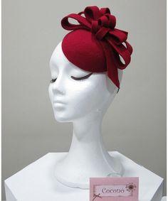 SAMPLE SALE. Red wool felt fascinator  Felt by CoconoMillinery