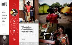 WorldRide 2013 by Liz Dimmock by Nemanja Ivanovic, via Behance Charity Websites, Art Web, Website Design Inspiration, Ui Inspiration, Shape Design, Design Web, Graphic Design, Mobile Design, Interactive Design