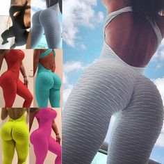Buy 6 Colors Fashion Women Sexy Hollow Out Halter Backless Lift The Hips Bodysuit Solid Color Yoga Sport Jumpsuit Romper Trousers Leggings Fitness Sets at Wish - Shopping Made Fun Bodycon Jumpsuit, Wish Shopping, Colorful Fashion, Workout Leggings, Backless, Underwear, Sexy Women, Trousers, Bodysuit