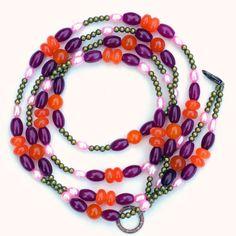 Long Double Strand Purple Orange Pink Hippie by ALFAdesigns, $49.99