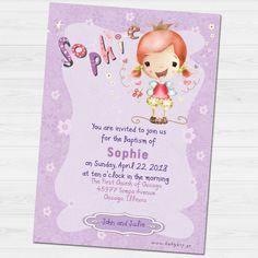 Sophie Baptism invitation by babyartshop on Etsy Baptism Invitations, You Are Invited, Thank You Cards, Clip Art, Digital, Prints, Etsy, Appreciation Cards, Wedding Thank You Cards