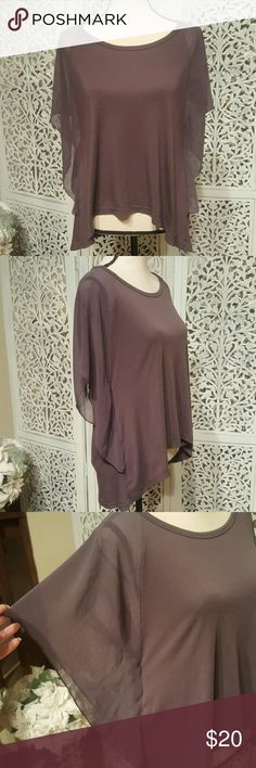 Selling this Gray Top With Fluttery Sleeves on Poshmark! My username is: kmclrs. #shopmycloset #poshmark #fashion #shopping #style #forsale #Poof Couture #Tops