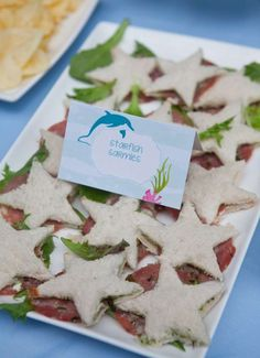 Starfish sandwiches at an under the sea birthday party! See more party ideas at CatchMyParty.com!