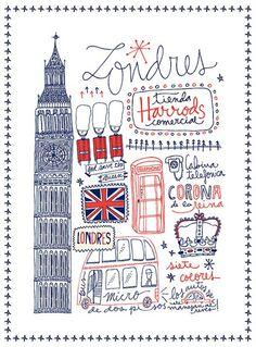 #ilustracion #viajes #londres diseno-grafico