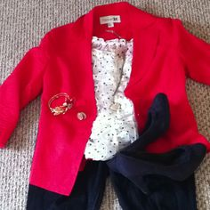 Love the red jacket and white polka dot top.  Could use any bright color jacket with this.