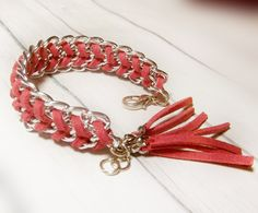 Wrap leather and chain bracelet - Red Leather braided in silver chain - linking leather tassel. $9.00, via Etsy.