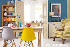 Charles Eames Inspired Eiffel DSW Yellow Dining Chair Tesco
