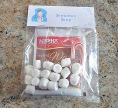 christmas treat bag ideas, snowman soup