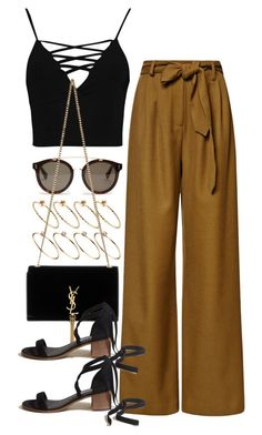"""""""Untitled #10470"""" by nikka-phillips ❤ liked on Polyvore featuring ASOS, Boohoo, STELLA McCARTNEY, Rosie Assoulin, Yves Saint Laurent and Hollister Co."""