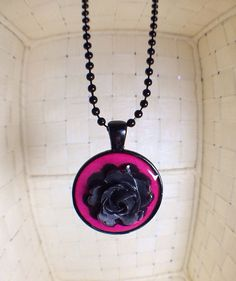 Black and Hot Pink Necklace with Black Rose 24 Inches Adjustable on Etsy, $4.97 #christmasgifts #giftsunder5dollars #etsy #etsyjewelry
