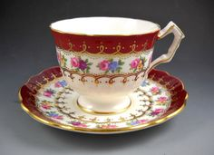 Aynsley Red Border and Roses Gold Accented Scalloped Fluted Tea Cup and Saucer  #Aynsley