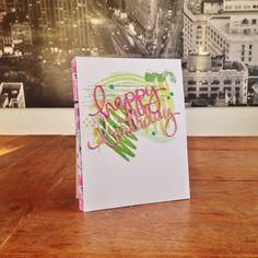 "Artsy Happy B'day Card. Cardstock: PaperProducts; DP: scraps (TEDI); glitter paper: Artoz; stamps: Darkroom Door (""Brush Strokes""), Joy Crafts (""Grunge""), SU (""Gorgeous Grunge""); ink: SU, Memento; dies: Mama Elephant; Liquid Pearls."