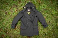 Rick's Goldstream Peacoat in a black/blue wool with a pea-green lining.