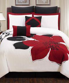 Loving this Red Fleur Comforter Set on #zulily! #zulilyfinds