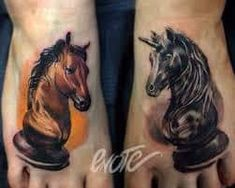 The Unicorn Knight Chess Tattoos by Timur Enote is a composition of two foot tattoos. One of them looks like a real chess piece and another is a fantasy. Chess Piece Tattoo, Pegasus Tattoo, Knight Chess, Knight Tattoo, Foot Tattoos, Tatoos, Tattoo Project, Chess Pieces, Couple Tattoos