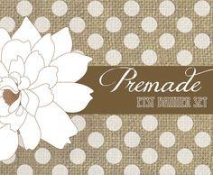 Premade Etsy Banner Set , Shabby Chic, Burlap and Polka Dot, Flower on Etsy, $10.00