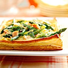 Asparagus-Salmon Scramble   We've given traditional quiche a new twist by adding salmon. Serve it at a spring brunch or enjoy as a dinner entree.