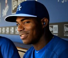 Yasiel Puig...Check out the ear plugs!
