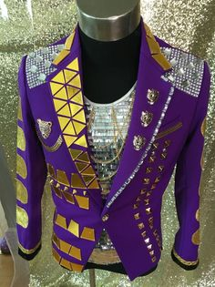 Purple Nightclub Fashion Male singer Performance Jacket Outerwear Men s  Stage Mirrors slim suit Jacket Show Stage Blazer Outfit 2e9286836343