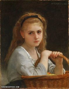 """classic-art: """"Young Girl with a Basket of Fruit William Adolphe Bouguereau, 1883 """" William Adolphe Bouguereau, Oil Painting Gallery, Oil Painting Reproductions, Famous Art, Pictures To Paint, Portrait Art, Love Art, Oil On Canvas, Painting Canvas"""