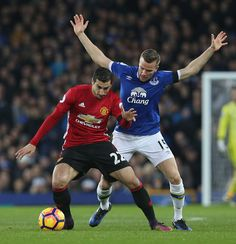 Henrikh Mkhitaryan of Manchester United in action with Tom Cleverley of Everton during the Premier League match between Everton and Manchester United...