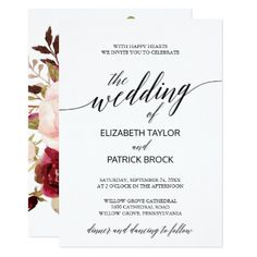 Elegant Calligraphy with Floral Backing Wedding Card - tap to personalize and get yours  #wedding #invitation #weddingideas #weddinginspiration  #flower #floral #botanical #garden #outdoor #nature #romantic #typography