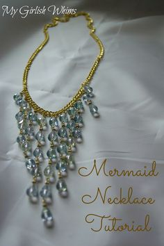 mermaid necklace, statement necklace tutorial diy
