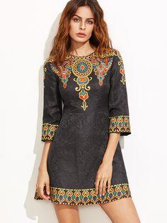 6b59524f1968 Shop Black Vintage Print A Line Jacquard Dress online. SheIn offers Black  Vintage Print A