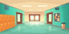 School hallway interior with doors and lockers Kindergarten Classroom, School Classroom, Door Locker, Design Plat, Modern Classroom, School Equipment, School Hallways, School Accessories, Ideas