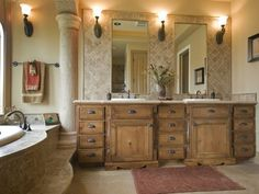 Stunning Master Bath. Oooh I could tile behind the mirror for a dramatic look!!!