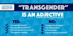With so much anti-trans legislation and misinformation out there these days, we thought a quick lesson in the right (and wrong) vocabulary to use when fighting back would be helpful. First and foremost: TRANSGENDER IS … Transgender Community, Transgender People, Intersectional Feminism, Social Justice, Equality, Vocabulary, Campaign, Thoughts, Words