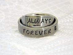 Matching Couples Rings Name Ring Set of 2 by SnowMountainDesigns
