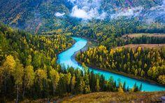 Lataa kuva Aasiassa, metsä, Kanas Lake, blue lake, vuoret, Xinjiang, Kiina