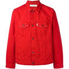 Off-White - The End denim jacket - men - Cotton - XXL (1,658 CAD) ❤ liked on Polyvore featuring men's fashion, men's clothing, men's outerwear, men's jackets, red, mens jackets, mens red jacket, mens cotton jacket and mens denim jacket