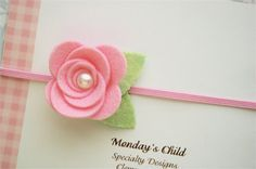 Reserved/Felt Flower Headband in Pink, Matching Headband and Hair Clip, Sister Set, Newborn Headband, Baby Headband, Toddler Headband