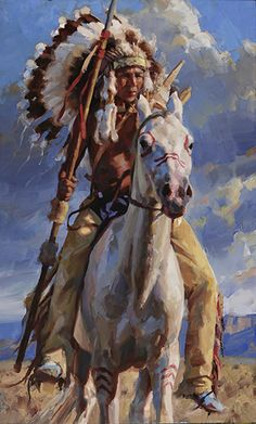 """Lakota Chieftain"" by Jason Rich (Cowboy Artist) that is one tall man Native American Warrior, Native American Beauty, American Indian Art, Native American History, American Indians, Native American Paintings, Native American Pictures, Indian Paintings, Horse Paintings"