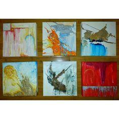 "Six paintings: 8""x8""x1.5 ""  acrylic & texture on canvas.... 2015...."