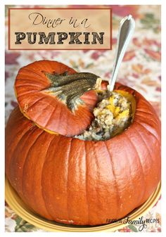 Dinner in a Pumpkin is one of my favorite fall recipes! The dinner itself is sweet and savory, and it is so fun to serve it from a pumpkin! I have served this many times on Halloween night before sending the kids out to Trick or Treat. It is a warm, hearty meal with the delicious flavors of fall. I always hope it will fill their tummies and prevent them from eating too much candy.