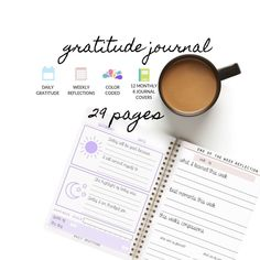 Gratitude Journal, Daily Gratitude, Weekly Gratitude, Color Coded Journal | 5 Minute Daily Reflection | Printable Planner Journal by DesignerJaim on Etsy Journal App, Digital Journal, Daily Journal, Journal Pages, Planner Journal, Journals, Bullet Journal, Beauty Routine Planner, Goals Planner