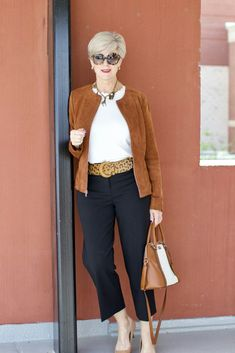 Cheeta belt, ann taylor suede pumps, ralph lauren suede jacket 60 fashion, over Over 60 Fashion, Over 50 Womens Fashion, 50 Fashion, Women's Fashion Dresses, Look Fashion, Autumn Fashion, Fashion Trends, Lolita Fashion, Fashion Boots