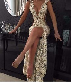 2018 Custom Charming Gold Beading Lace Prom Dress,Sexy Deep V-Neck Evening Dress