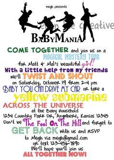 Beatles Baby Shower Invitation