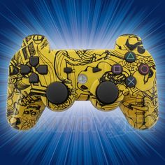 This is our Zombie Brains Yellow Playstation 3 Modded Controller. AHHH! ZOMBIES!! And lots of them! Our newest zombie controllers are out and are scarier than ever. Featuring a new hydro pattern that we just got, these controllers look fantastic. The zombie fans in your life are going to love these! Available immediately exclusively from GamingModz.com. Watch the video now: http://www.youtube.com/watch?v=AIB8N140sBU=