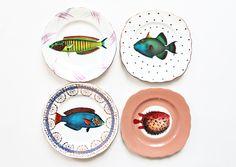 Wow - gorgeous mismatched plates! Fancy Fish plates set £45.00