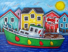 Lobster Art - Maritime Special by Lisa Lorenz Boat Drawing, Drawing For Kids, Lobster Art, Boat Painting, Naive Art, Whimsical Art, Fishing Boats, Rock Art, Art Lessons