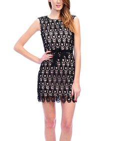 Another great find on #zulily! Black Scallop Lace Sleeveless Dress by Carapace #zulilyfinds