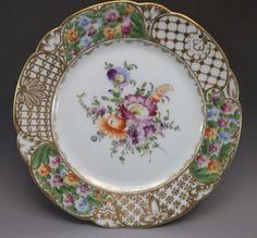 Dresden-Luncheon-Plate-Hand-Painted-Flowers-Porcelain-Purple-Orange-Gold-4
