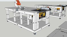 Mobile Workbench with built-in table and mitre saws - 3D Warehouse
